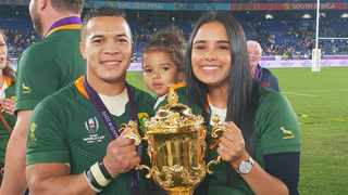 Cheslin Kolbe and his family pose with the RWC spoils in Japan following the triumphant Final against England. Photo: Layla Kolbe on facebook