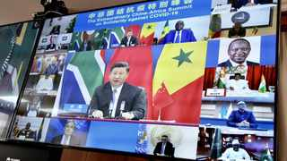 China's President Xi Jinping speaks during the China-Africa summit on solidarity against Covid-19 on Wednesday.