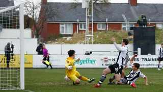 Chorley's Mike Calveley scores their second goal in their FA Cup game against Derby County at Victory Park in Chorley on Saturday. Photo: Jason Cairnduff/Reuters
