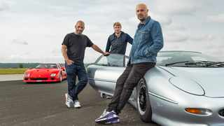 Chris Harris, Freddie Flintoff and Paddy McGuinness in season 29 of BBC Brit's Top Gear. Picture: BBC