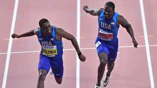 Christian Coleman,left, crosses the finish line to win the men's 100 meter race ahead of silver medalist Justin Gatlin. Photo: Martin Meissner/AP Photo