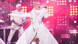 Christina Aguilera performs at the New Year's Eve celebration in Times Square in New York. Picture: AP