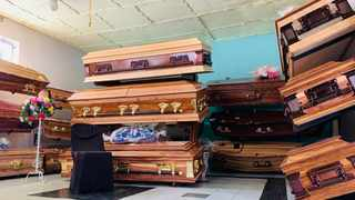Coffins in storage. Limpopo Health MEC Dr Phophi Ramathuba warned that funerals were the number one reason for the uncontrollable rising numbers of Covid-19 infections. Picture: Bhekikhaya Mabaso/African News Agency (ANA)