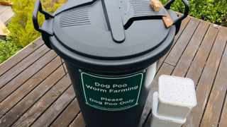 Container for the dog poo used for compost.