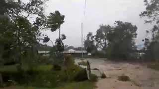 Cyclone Harold brings strong winds in Luganville, Vanuatu, in this still image obtained from a social media video. Picture: Adra Vanuatu/Social Media via Reuters