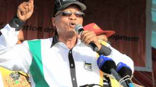DURBAN:130414 President Jacob Zuma addressing the crowed at the ANC's rally held at Curriesfountain PICTURE:GCINA NDWALANE