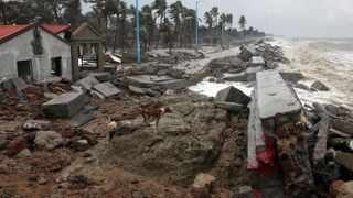 Damaged tourist lodges along a beach front following Cyclone Yaas in Shankarpur, Purba Medinipur district in the eastern state of West Bengal, in India on Thursday. Picture: Reuters