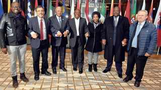 Deputy President Cyril Ramaphosa,centre, with from left: Ministers Malusi Gigaba, Ebrahim Patel, Jeff Radebe, Maite Nkoana Mashabane, Nathi Nhleko and Rob Davies who are part of the South African government delegation ahead of the WEF 2018 annual meeting in Davos. Pictures: Elmond Jiyane/ GCIS