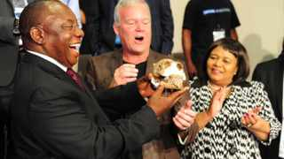 Deputy president Cryril Ramaphosa,Prof: Lee Berger and Minister Edna Molewa holding a skull at Maropeng where once again another fossil discovery of a human relative and it is named Homo Naledi by the cavers who have come from all over the world working together to extract this fossils. The discovery is the single largest fossil hominine find made on the continent of Africa.Picture: THAPELO MOREBUDI.
