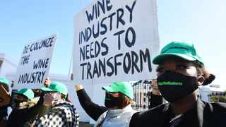 Disgruntled women in the wine industry protest outside Parliament on Thursday. Picture: Phando Jikelo African News Agency (ANA)