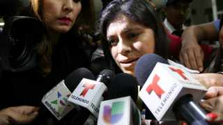Dorotea Garcia, mother of Alondra Diaz, the minor allegedly abducted by her father in the US and taken to Mexico, speaks to the media upon her arrival to the International Airport of Guadalajara, Mexico. EPA/Ulises Ruiz Basurto