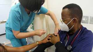 Dr Sibusiso Ndaba was among the medical frontline workers at Tygerberg Hospital who received his Johnson & Johnson Covid-19 vaccine jab on Friday. Picture: Ian Landsberg/African News Agency (ANA).