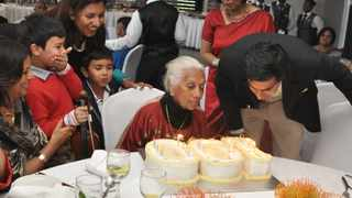 Durban great grandmother Amartham Moodley with her family on her 100th birthday. Picture: Supplied