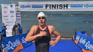 Durban's Michael McGlynn crosses the finish line to claim top honours at this year's Midmar Mile in Howick. Photo: Supplied