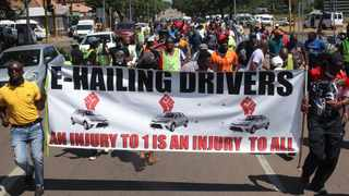 E-hailing taxi drivers during a march to the Department of Transport. Picture: Jacques Naude/African News Agency (ANA)