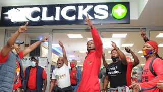 EFF members protest outside the Clicks store in Goodwood Mall. Picture: Henk Kruger/African News Agency (ANA)
