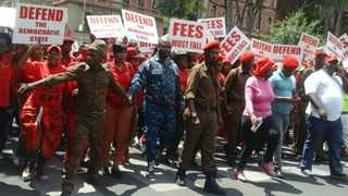 EFF supporters outside the Gauteng High Court, Pretoria, where the state capture court case is being heard.