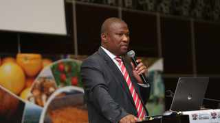 Eastern Cape Premier Oscar Mabuyane speaking at a cannabis stakeholder engagement in East London. Photo: ANA Reporter