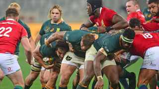 Eben Etzebeth of South Africa carries the ball forward in rolling maul during the second Test against the British and Irish Lions at Cape Town Stadium on Saturday. Photo: Ryan Wilkisky/BackpagePix