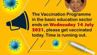 Education sector vaccination programme extended. Image: Department of Basic Education.