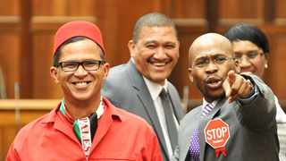 EfFF MP Nazier Paulsen in red. Picture Leon Lestrade/African News Agency