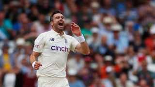 England's James Anderson celebrates taking the wicket of India's Virat Kohli. Photo: Paul Childs/Reuters