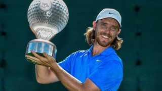 England's Tommy Fleetwood celebrates winning the the 39th edition of the Nedbank Golf Challenge, at Sun City in 2019. Photo: Christiaan Kotze
