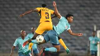 Erick Mathoho of Kaizer Chiefs challenged by Boitumelo Radiopape of Orlando Pirates during the 2021 Carling Black Label Cup match between Kaizer Chiefs and Orlando Pirates on 01 August 2021 at Orlando Stadium / Pic Sydney Mahlangu/BackapagePix