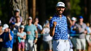 Erik van Rooyen celebrates winning on the 18th green during the final round of the Barracuda Championship. Photo: Alex Goodlett/Getty Images via AFP