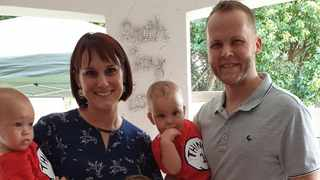 Erika Basson with her husband Christiaan and twins Christopher and William, 16 months. Picture: Supplied