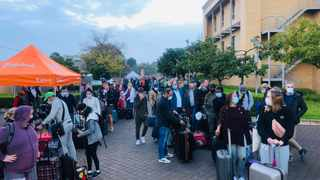 European visitors trapped in South Africa during lockdown are processed at the Netherlands Embassy in Pretoria before boarding the last European Union repatriation flight today (Sunday).