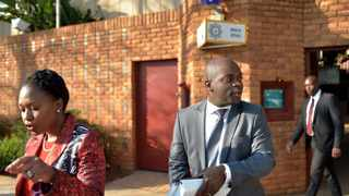 Executive mayor Solly Msimanga and Tshwane acting city manager Lindiwe Kwele leave the Brooklyn police station after laying charges against officials who served during the Ramokgopa administration. Picture: Oupa Mokoena
