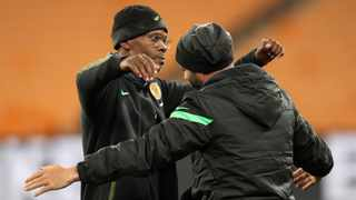 FILE - Arthur Zwane and Dillon Sheppard, joint coaches of Kaizer Chiefs, celebrate a victory against Golden Arrows. Photo: Gavin Barker/BackpagePix