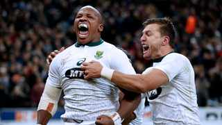 FILE - Bongi Mbonambi screams in delight after scoring the winning try for the Springboks against France. Photo: Yoan Valat/EPA