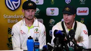 FILE - Cameron Bancroft sits next to former Australia captain Steve Smith after the infamous sand paper incident at Newlands in Cape Town in 2018. Photo: @ICC via Twittter