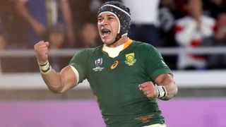 FILE - Cheslin Kolbe will choose to play against the British and Irish Lions next year instead of going to the Olympic Games for a second time. Photo: Eugene Hoshiko/AP