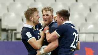 FILE - Duhan van der Merwe (C) of Scotland celebrates a try with his teammates during the Rugby Six Nations match between France and Scotland. Photo: EPA
