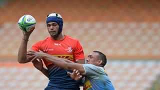FILE - Dylan de Leeuw of the Dassies during the Stormers friendly game between the Devils Peak Dassies (red) and the Boulders Beach Penguins (blue) at Newlands Rugby Stadium in Cape Town. Photo: Ryan Willkisky/BackpagePix