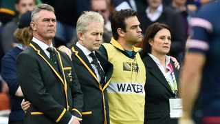 FILE - (From L) South Africa's head coach Heyneke Meyer, team manager Ian Schwartz, assistant coach Johann Van Graan and administration manager Annelee Murray line up before a Pool B match of the 2015 Rugby World Cup. Photo: AFP