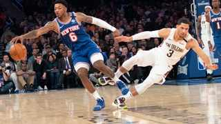 FILE - New York Knicks guard Elfrid Payton (6) and New Orleans Pelicans guard Josh Hart (3) collide during the first half of an NBA basketball game at Madison Square Garden earlier this year. Photo: Mary Altaffer/AP