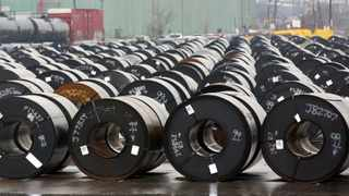 FILE PHOTO: Stored rolls of steel are seen outside the ArcelorMittal Dofasco plant in Hamilton