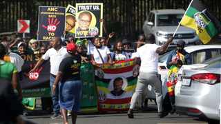 FILE - Political parties protesting outside the Verulam Magistrate's Court. 03.08.21. File photo: Bongani Mbatha /African News Agency (ANA)