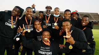 FILE - Royal AM FC players celebrate their win during the GladAfrica Championship 2020/21. Photo: Steve Haag/Gallo via BackpagePix