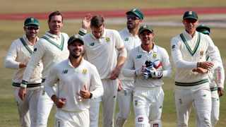 FILE - South Africa's Anrich Nortje (fourth left) celebrates with team-mates after the dismissal of Pakistan's Mohammad Rizwan in February earlier this year. Photo: Sohail Shahzad/EPA
