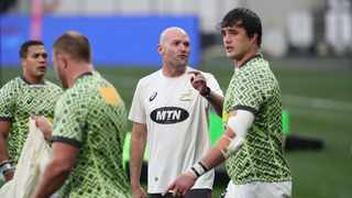 FILE - Springbok coach Jacques Nienaber speaks to his players during a training session. Photo: BackpagePix