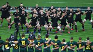 FILE - The Springboks face the All Blacks haka ahead of their Rugby Championship clash at Westpac Stadium in Wellington in 2019. Photo: John Cowpland/www.photosport.nz