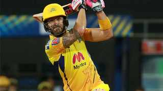 Faf du Plessis scored 95 as he guided Chennai Super Kings to victory in the IPL on Wednesday. Photo: @ChennaiIPL/Twitter