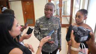 Fees must fall activist Bonginkosi Khanyile speak to media after his appearance and sentencing. Picture: Motshwari Mofokeng/ African News Agency (ANA)