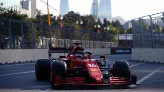 Ferrari's Charles Leclerc after qualifying in pole position for Sunday's Azerbaijan Grand Prix. Photo: Maxim Shemetov/Reuters