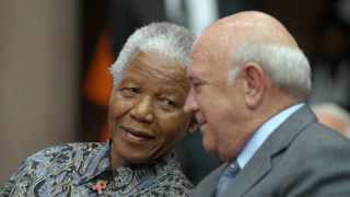 File - Late former president Nelson Mandela and former president FW de Klerk at the award ceremony for National Orders by then president Thabo Mbeki. FW de Klerk, order of Mapungubwe in Gold for exceptional and unparaleled contribution to peace, national reconciliation and nation-building in the RSA with Nelson Rolihlahla Mandela recieved the Order of Mapungubwe in Platinum for exceptional and unequaled contribution to the liberation struggle, national reconciliation and nation building in the RSA and for unwavering commitment to peace and justice in the world. FILE PHOTO: Jacoline Prinsloo/African News Agency(ANA)